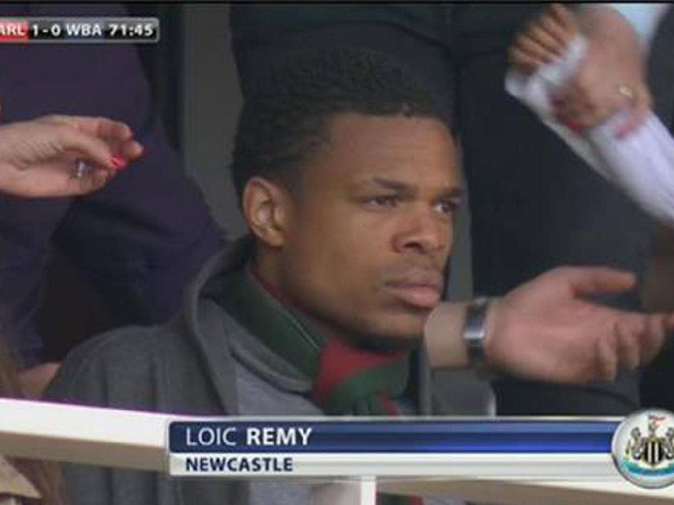 Loic Remy in the stands at the Emirates Stadium