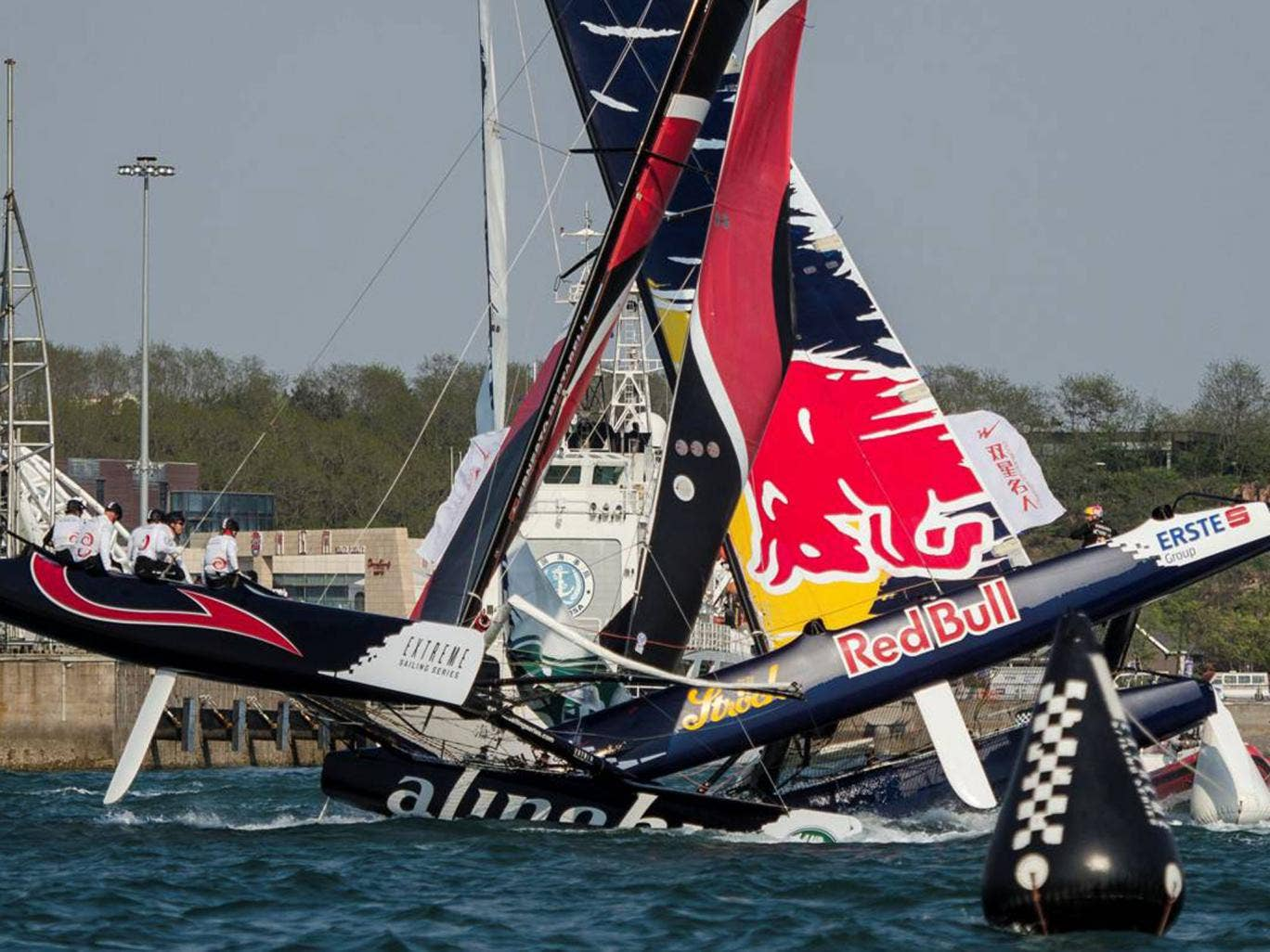 The Red Bull had regatta winner Alinghi on its horns on the final day of the Extreme Sailing Series in Qingdao, China