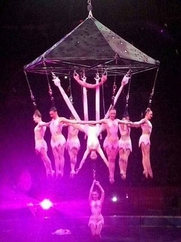 The stunt being performed performers at the Ringling Brothers and Barnum and Bailey Circus on 2 May.