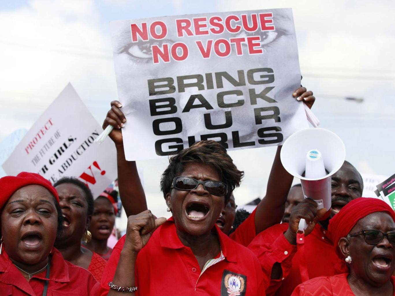 Protesters call on the government to rescue the kidnapped schoolgirls at a demonstration in Lagos. There have been similar protests throughout the country