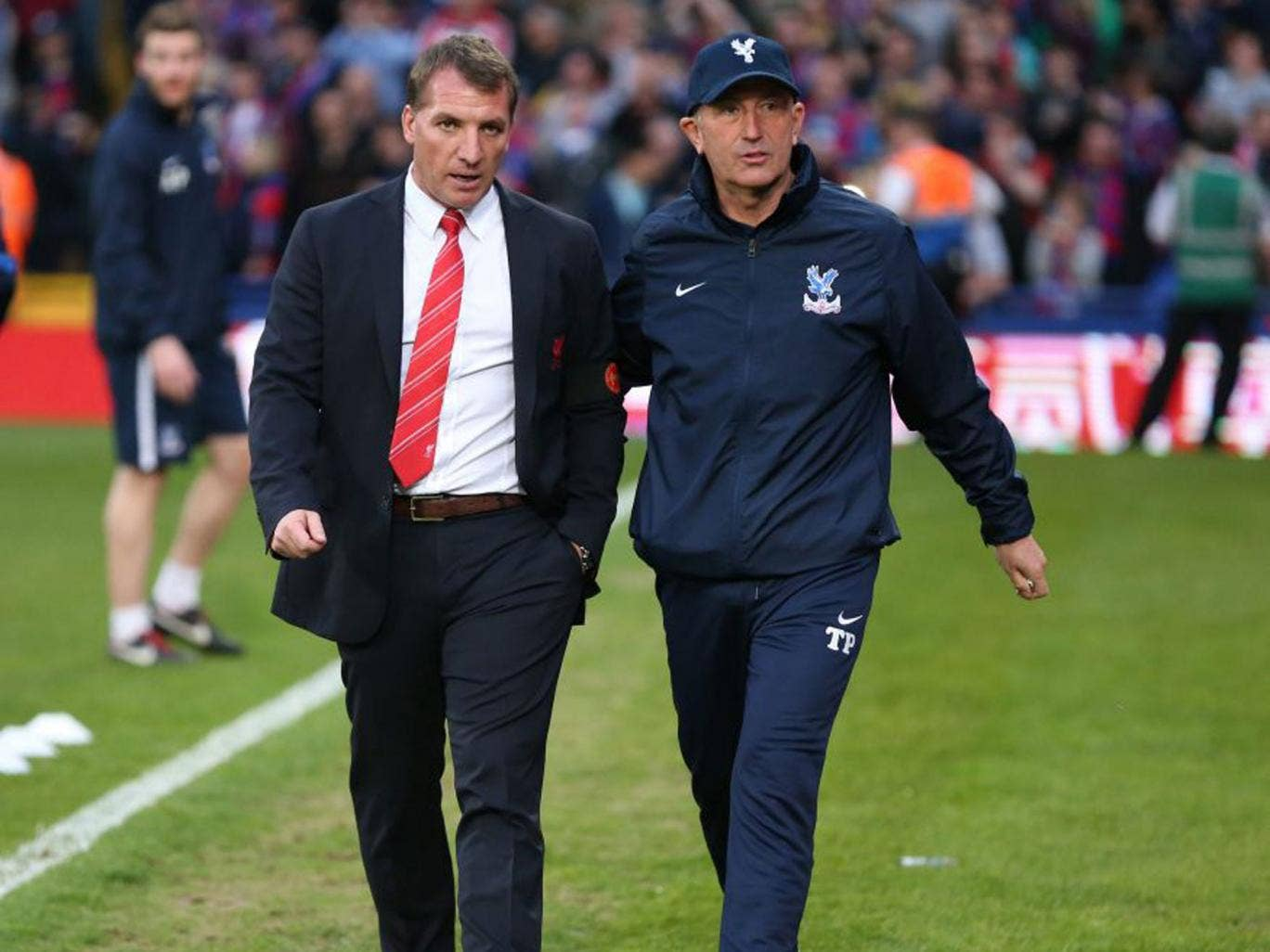 Palace manager Tony Pulis, right, alongside Brendan Rodgers before the start of last night's match at Selhurst Park