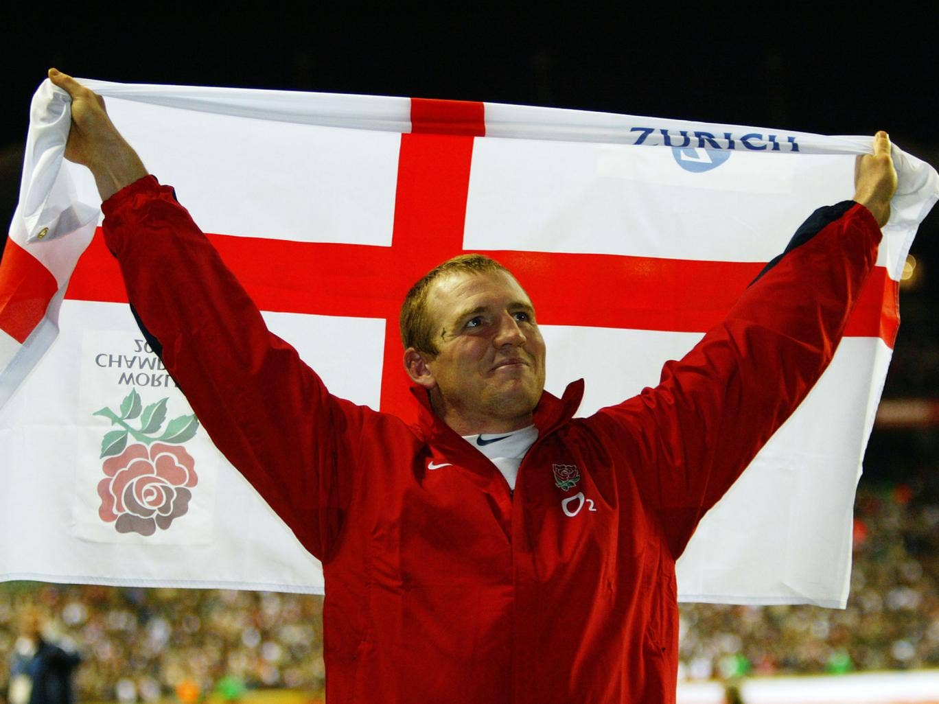 Mike Tindall celebrates following England's 2003 Rugby World Cup victory over Australia