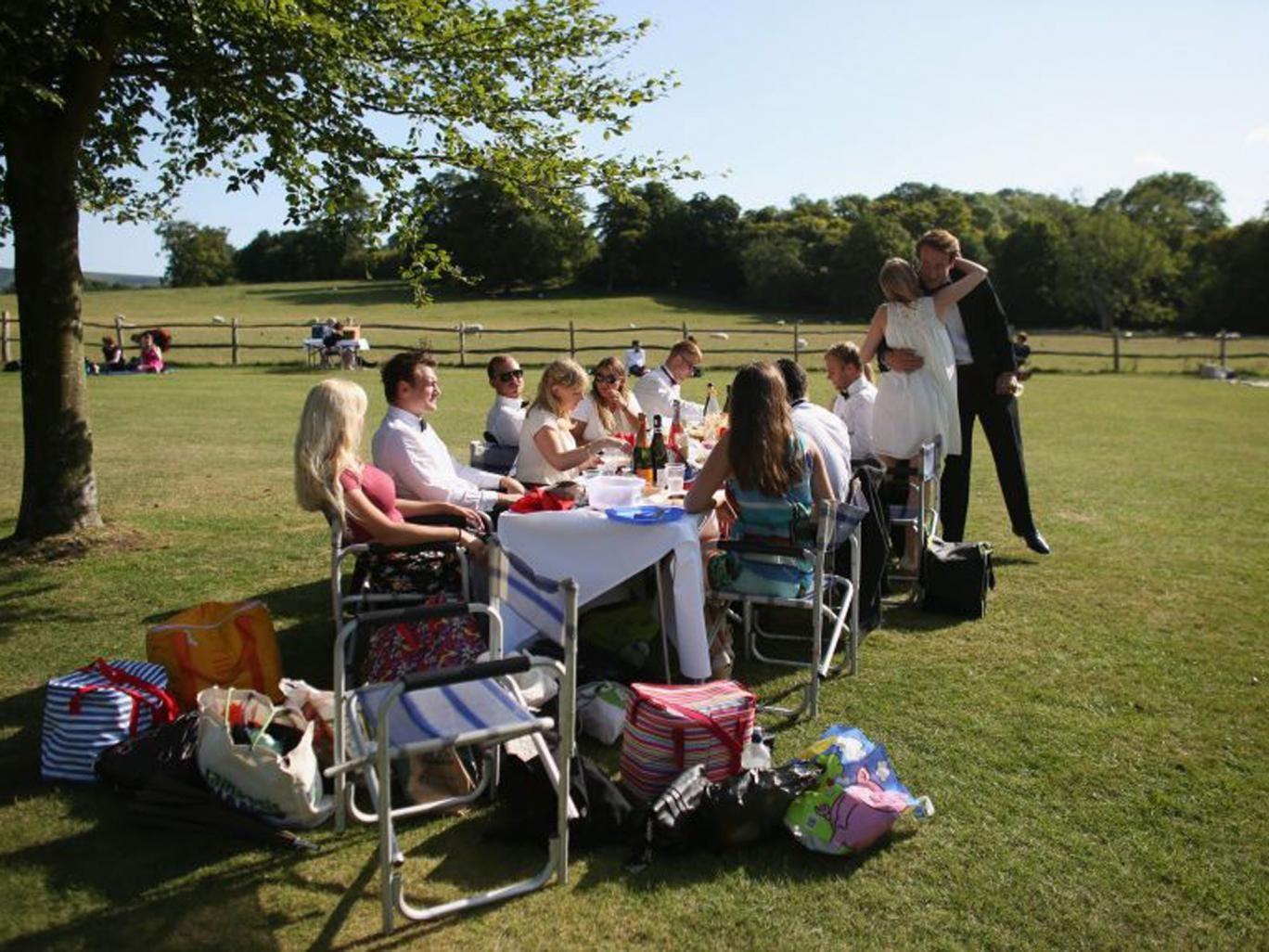 Upper crust: picnickers at Glyndebourne