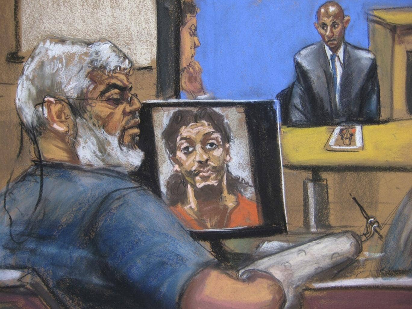 Abu Hamza during his trial in New York