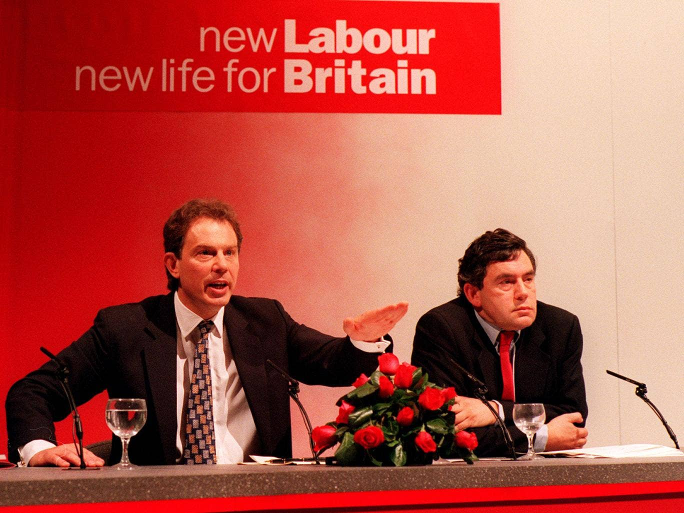 Tony Blair and Gordon at New Labour's party conference in 1996