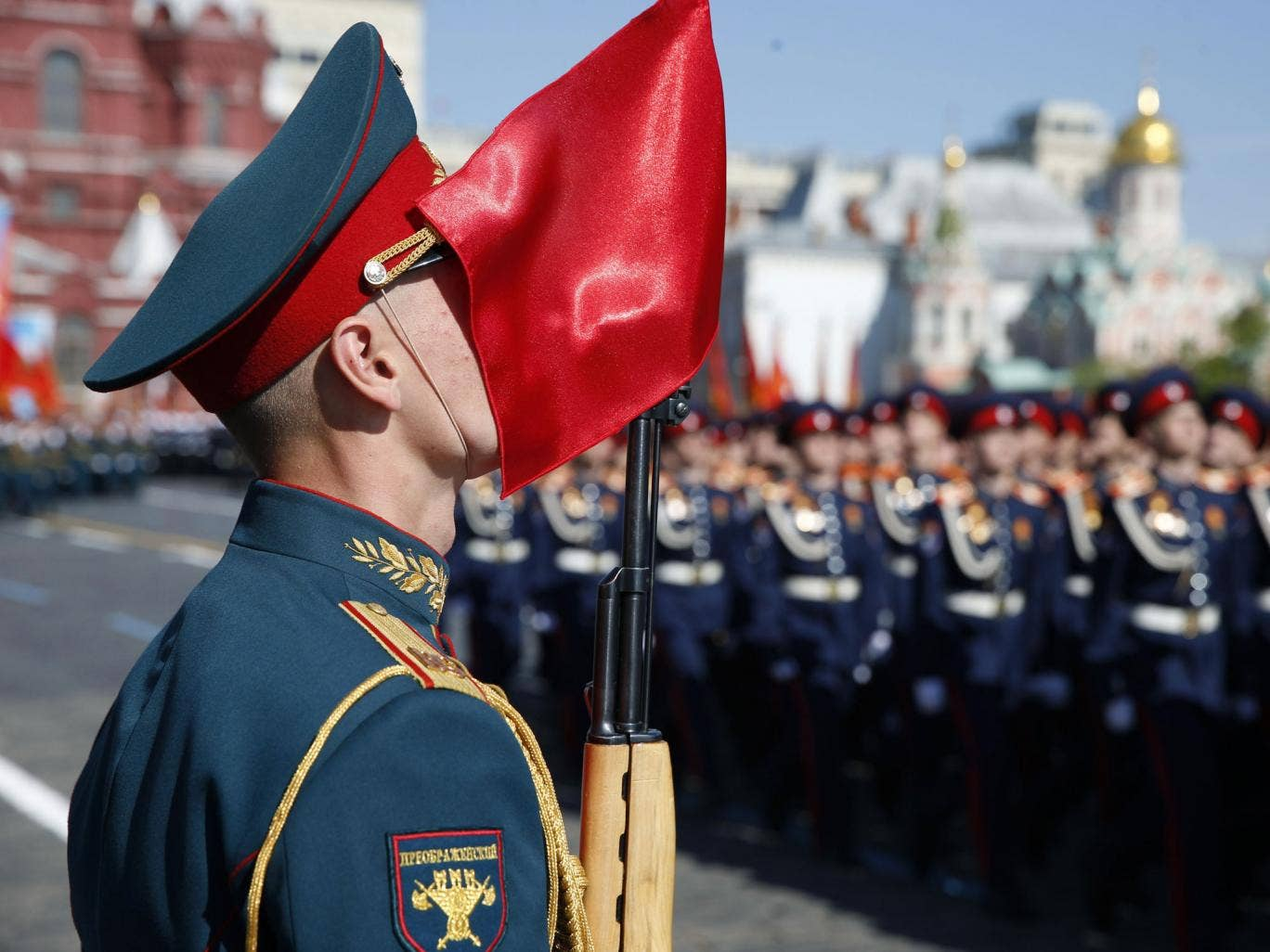 Russian troops march during a Victory Day parade, which commemorates the 1945 defeat of Nazi Germany, at Red Square in Moscow