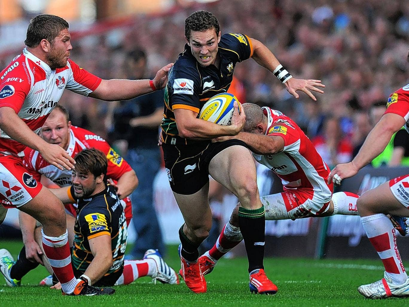 George North on the charge for Northampton in a recent game against Gloucester