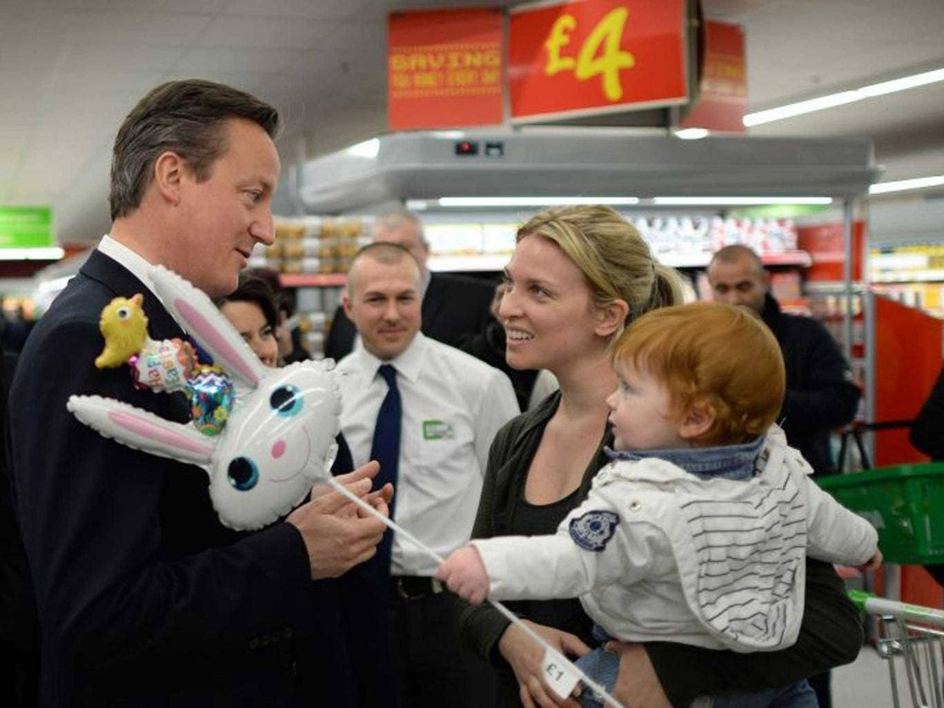 You talk, aisle listen: Cameron gets down with the kids, and their mums, at Asda