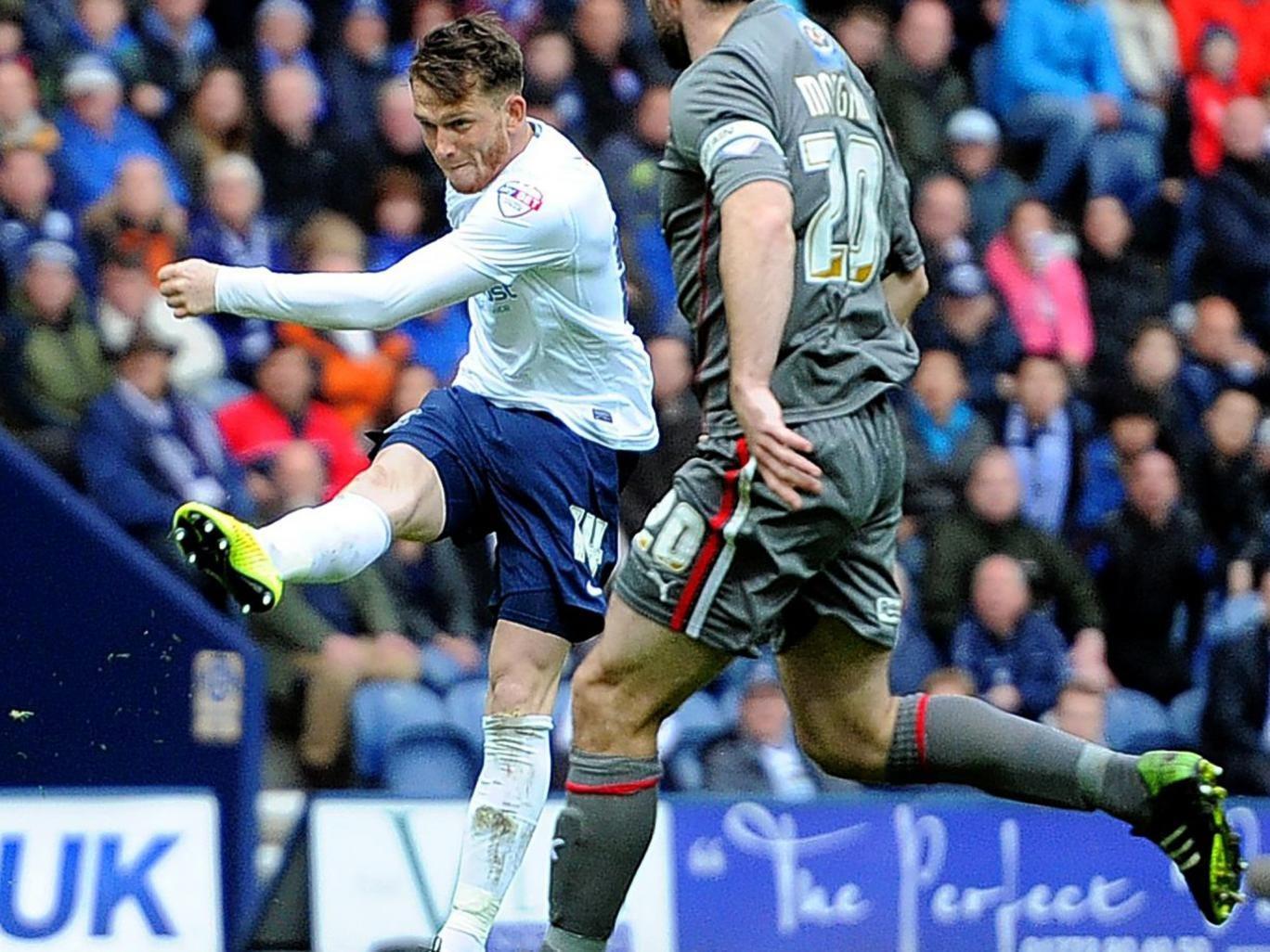 No ordinary Joe: Preston's Joe Garner strikes a brilliant volley to equalise against Rotherham at Deepdale