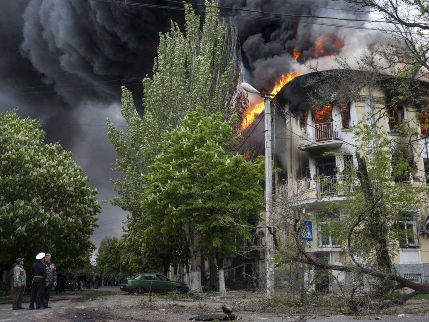 The city's police station ablaze