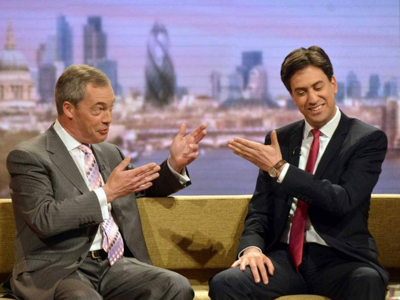 The Ukip leader was so positive about Miliband's performance that the Labour leader may soon be forced to rule out a red and purple Coalition