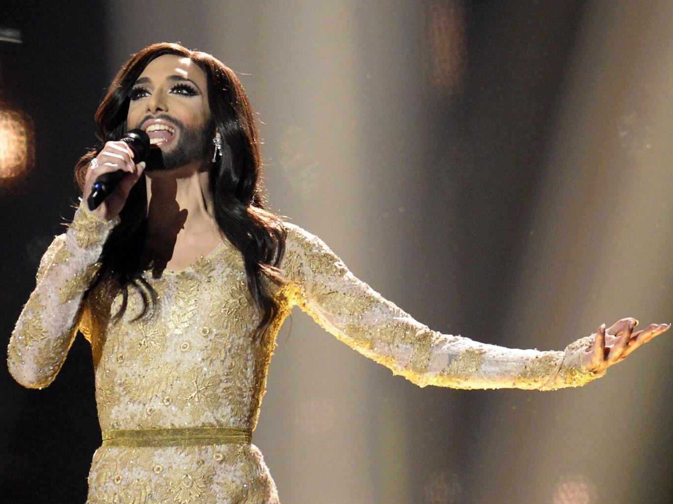 Conchita Wurst representing Austria performs during the Eurovision Song Contest 2014 Grand Final in Copenhagen, Denmark