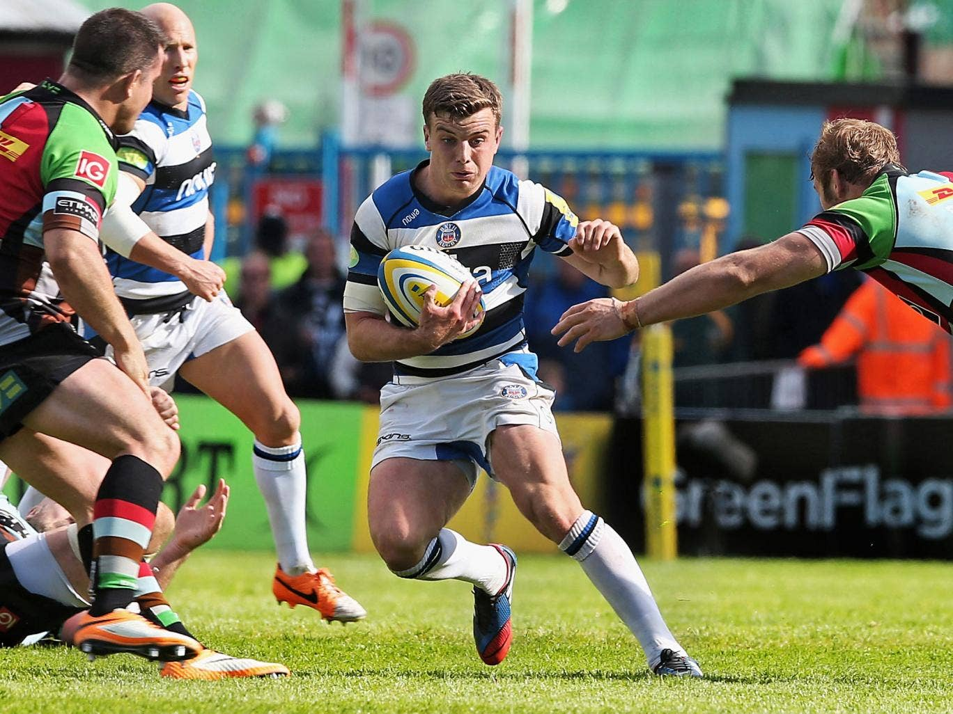 George Ford, the Bath outside-half, makes a break against Harlequins at the Stoop on Saturday, but a 19-16 defeat meant that Quins and not the West Countrymen take their place in the play-offs