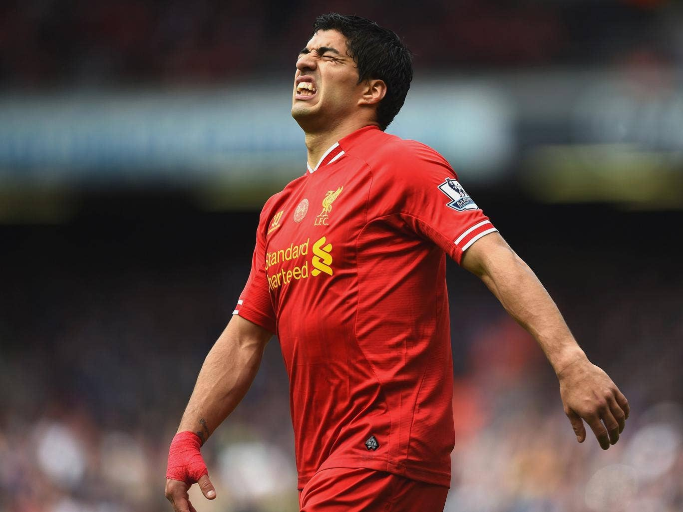 Luis Suarez can't believe it as his goal is disallowed