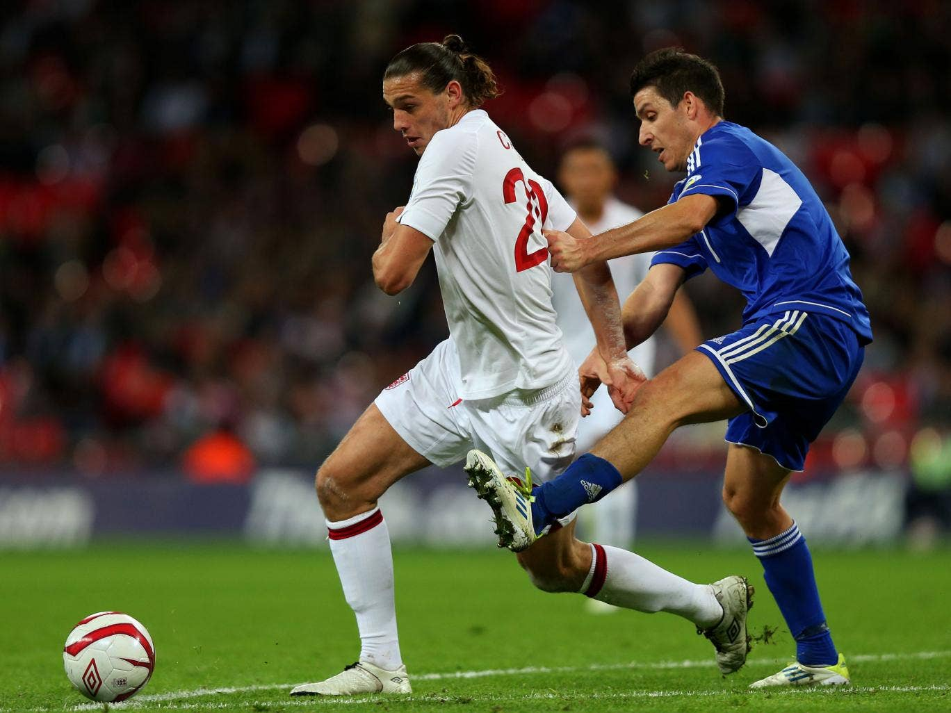 Andy Carroll in action for England against San Marino in 2012
