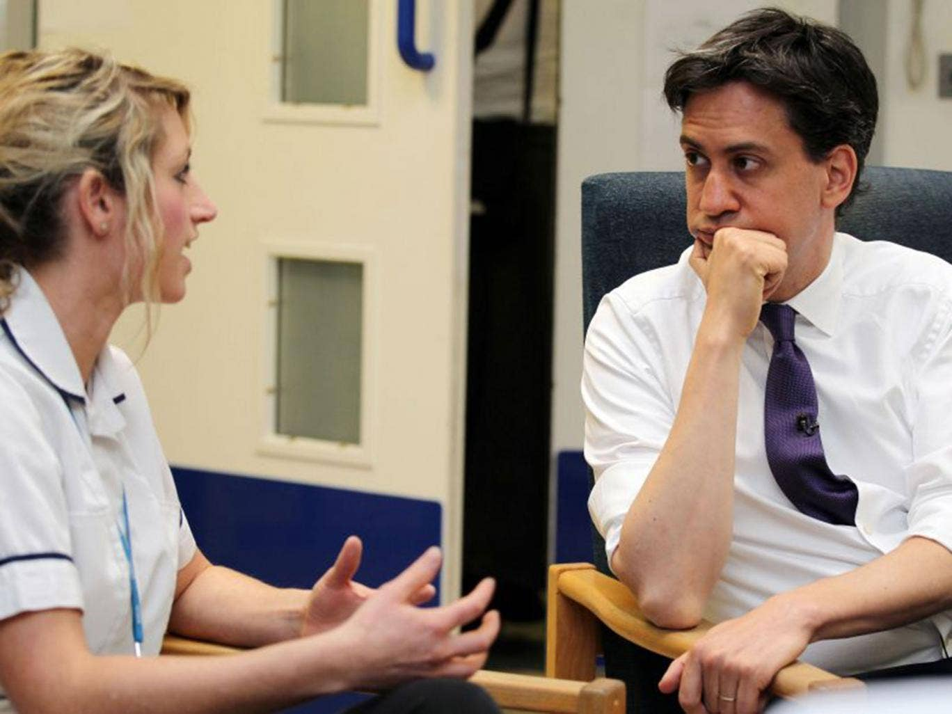 Ed Miliband paid a visit to Leighton Hospital in Crewe to speak with the staff about the NHS