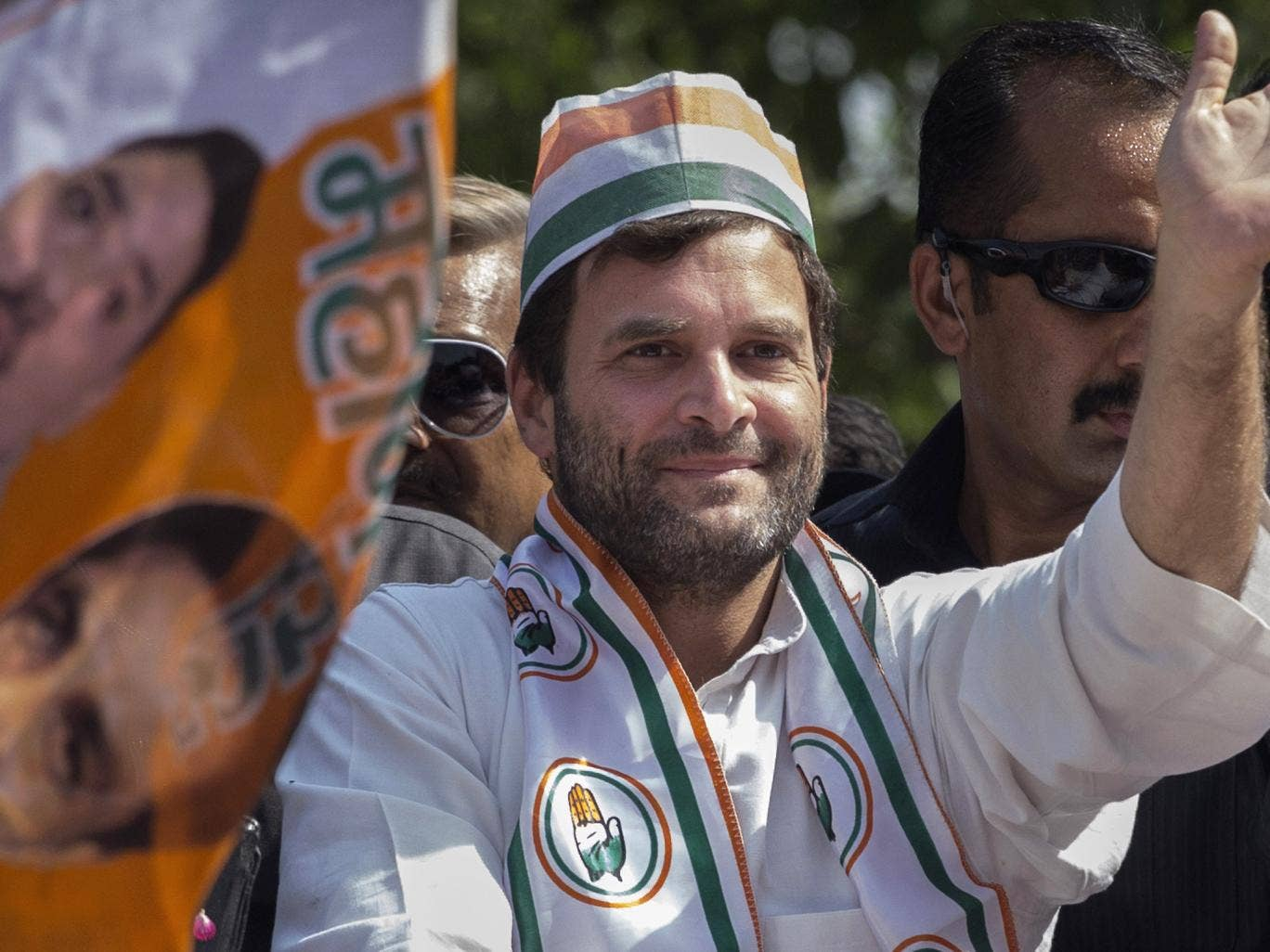 Congress Party's Rahul Gandhi waves to supporters at a recent rally in Varanasi