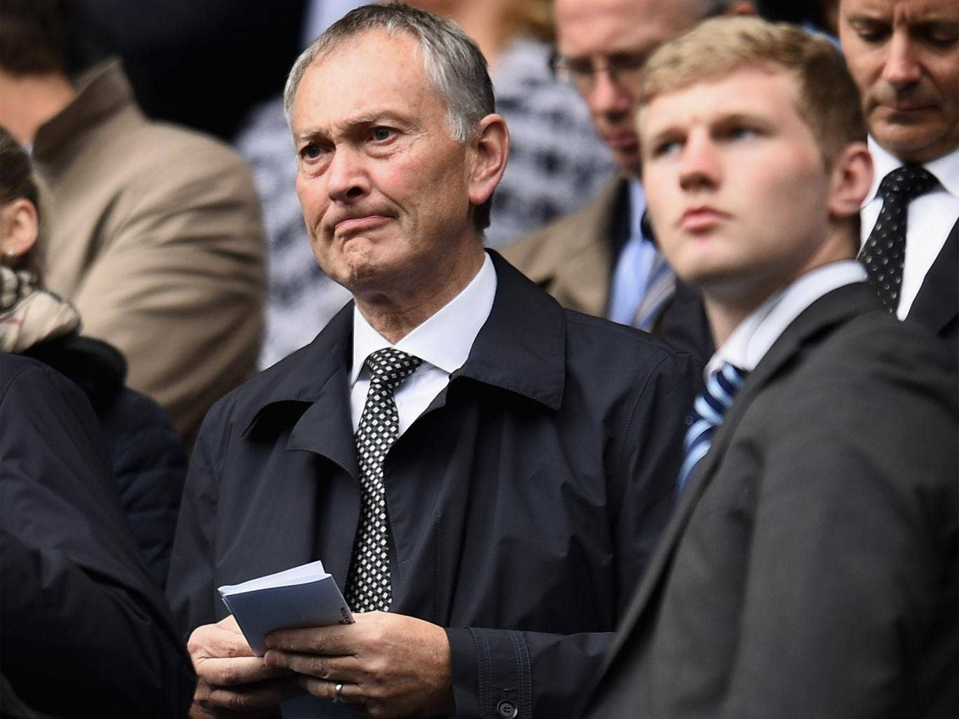 Richard Scudamore (left) watching Manchester City clinch the Premier League title on Sunday