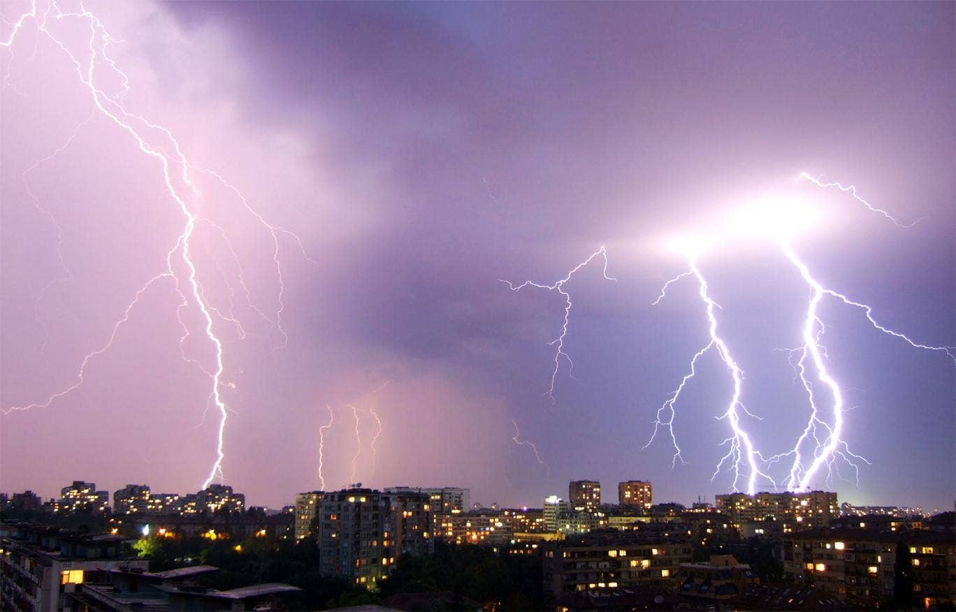 An entire family have survived being struck by lightning following a storm in the German city of Chemnitz.