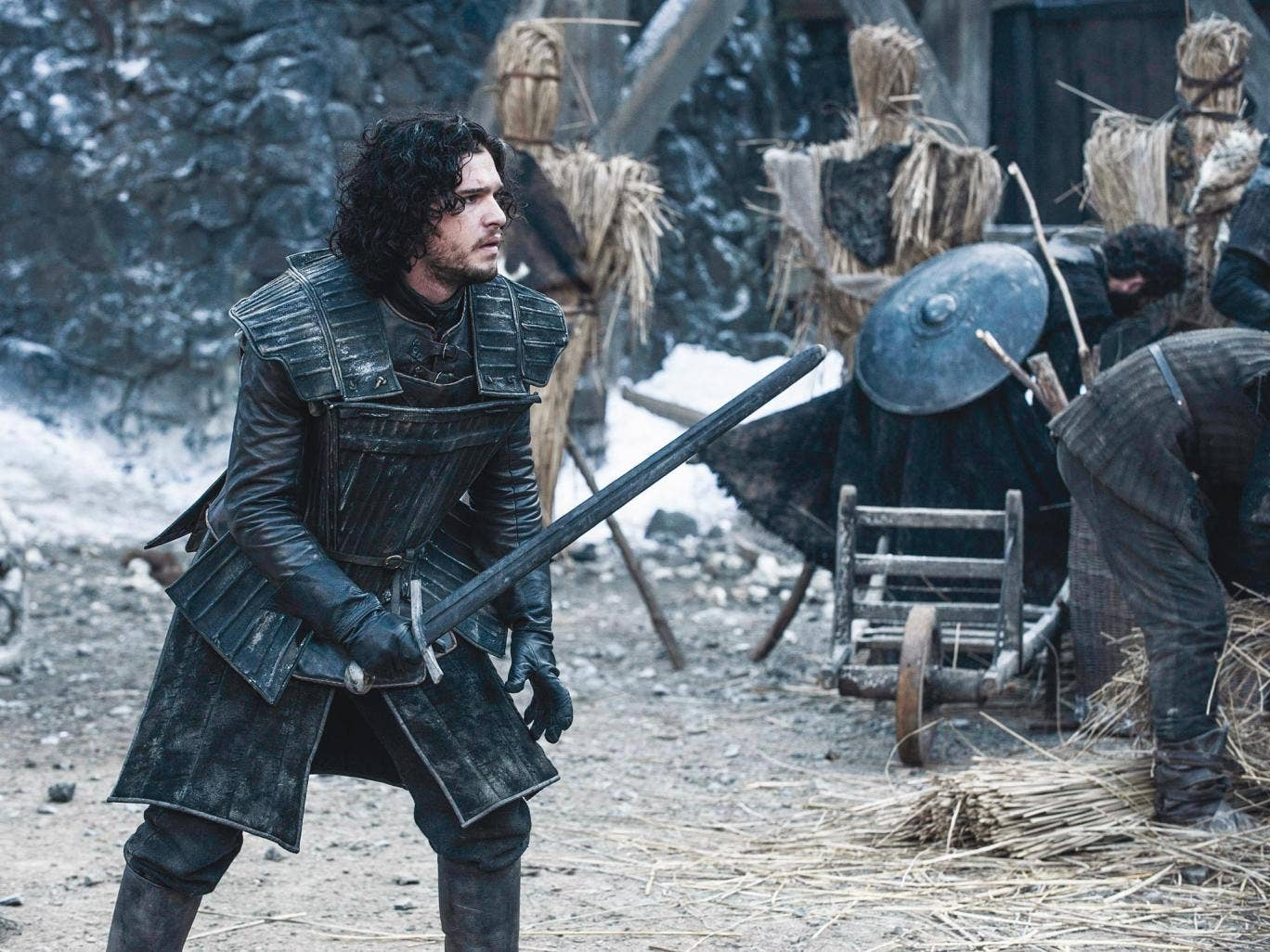 Jon Snow, played by Kit Harington,  trains for battle against the wildings at Castle Black