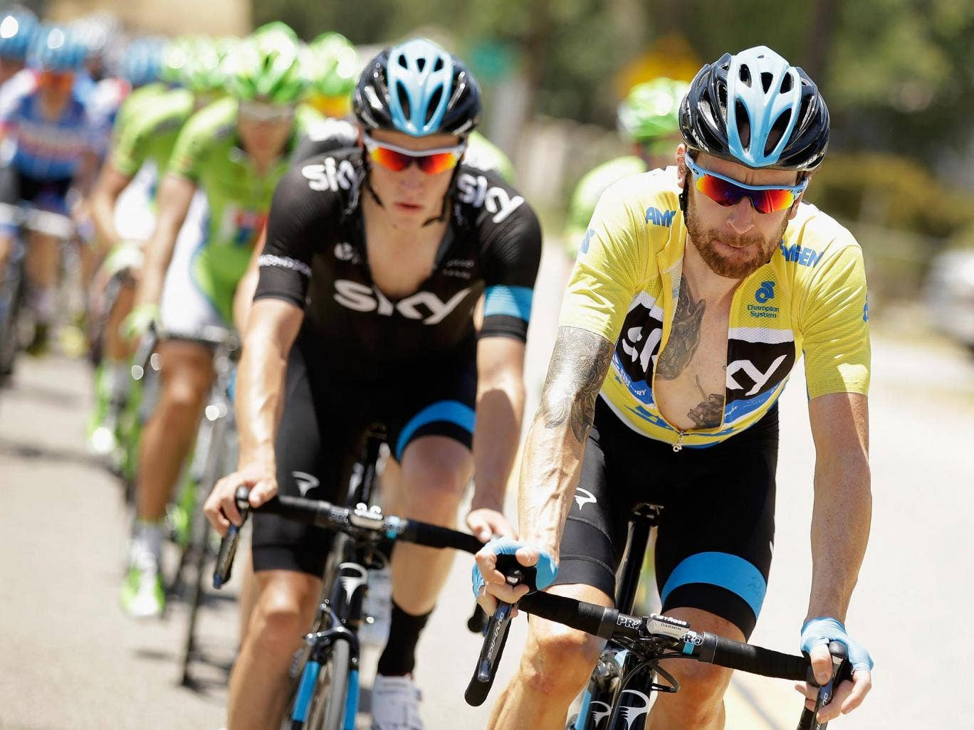 Bradley Wiggins of Great Britain riding for Team Sky defends his yellow jersey during stage five of the 2014 Amgen Tour of California