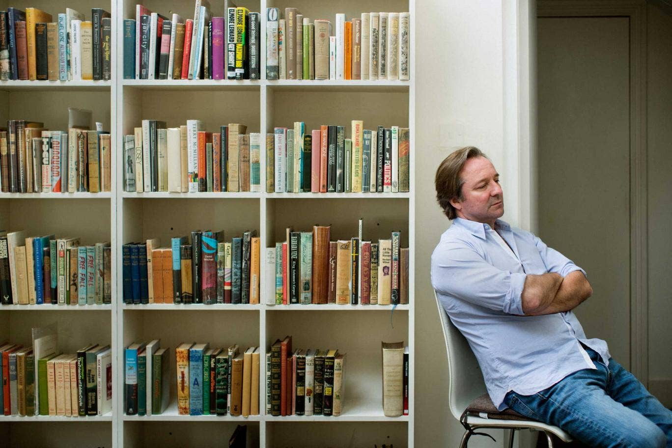 Well read: Pearson in his London office, with his collection of antique books