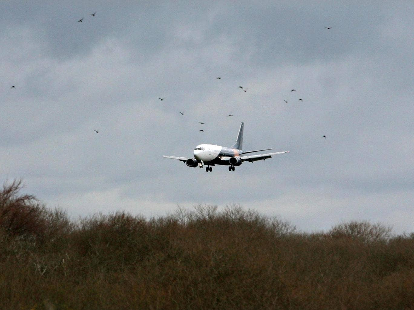 A Boeing 737 is given a test flight at Lydd airport in Kent