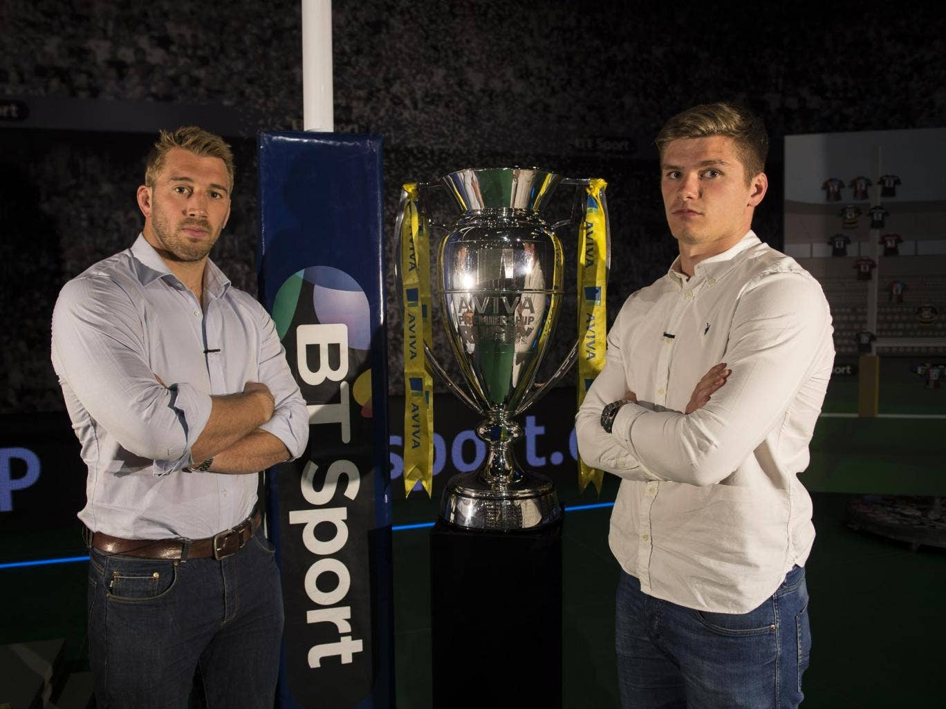 Owen Farrell (right) pits his wits against his England captain Chris Robshaw today