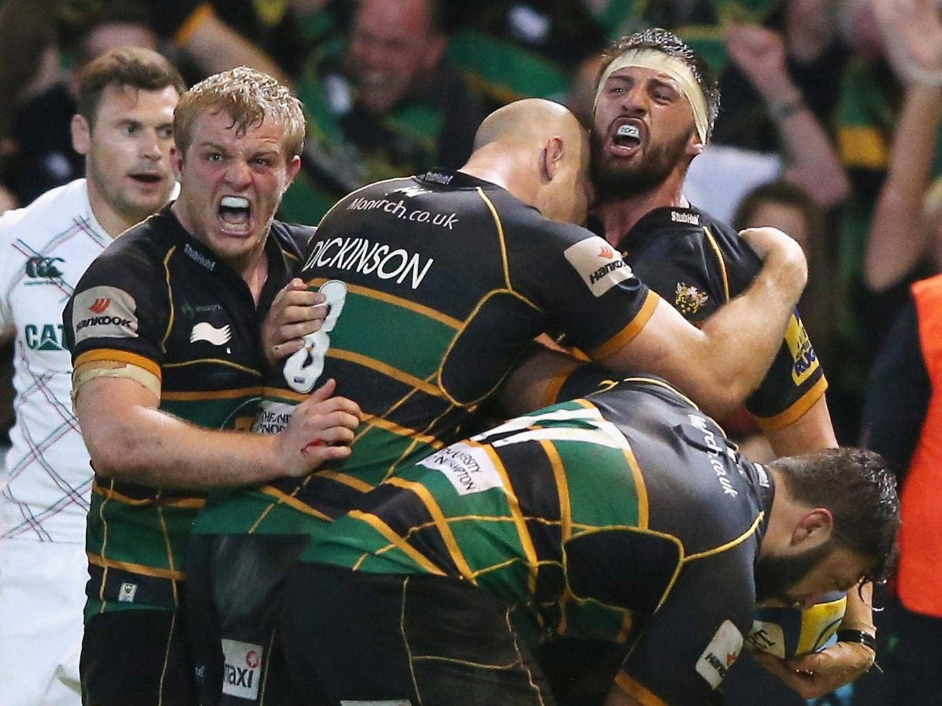 Tom Wood celebrates his match-wining try in Northampton's 21-20 win over Leicester