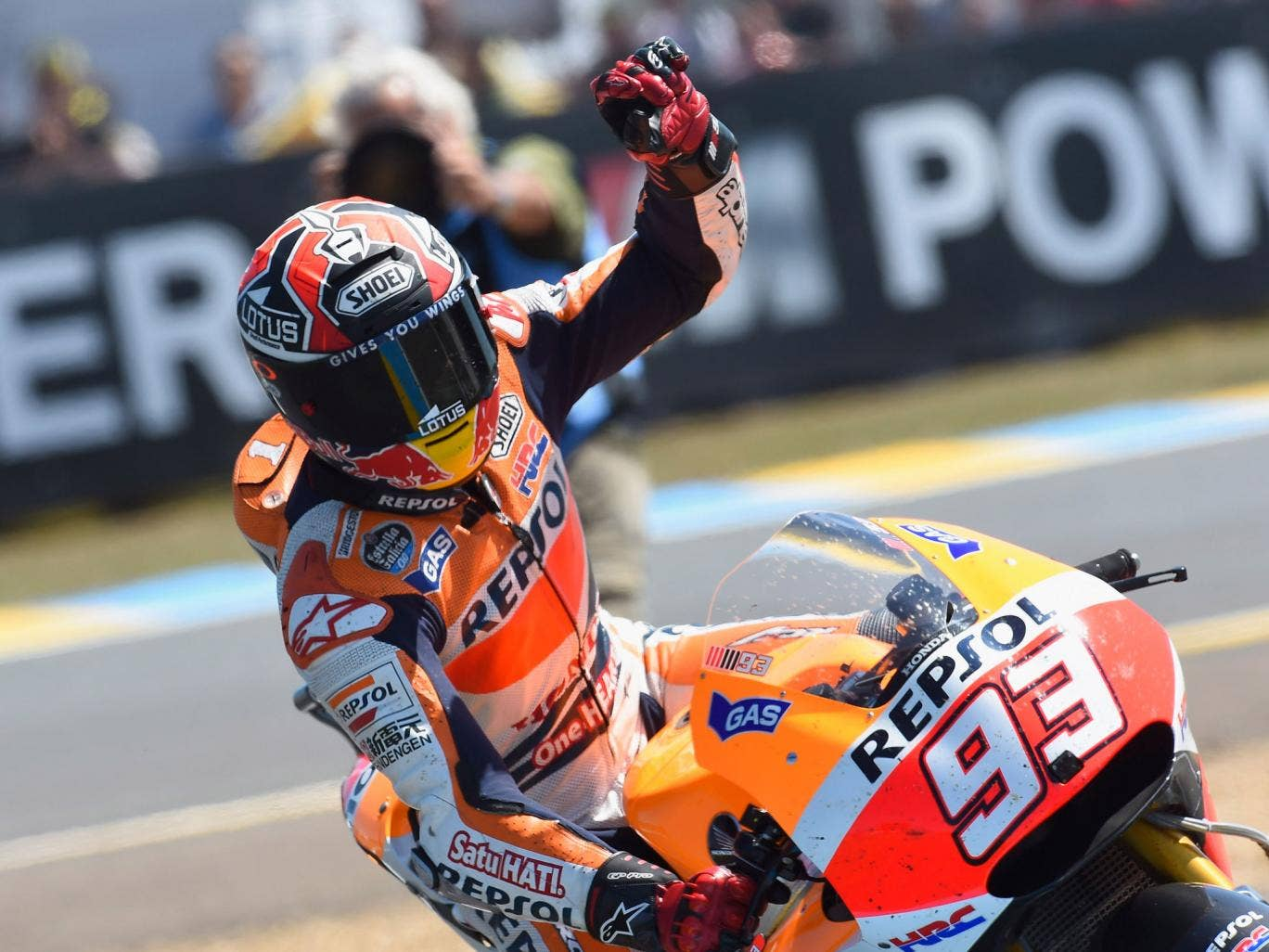 Marc Marquez of Spain and Repsol Honda Team celebrates the victory