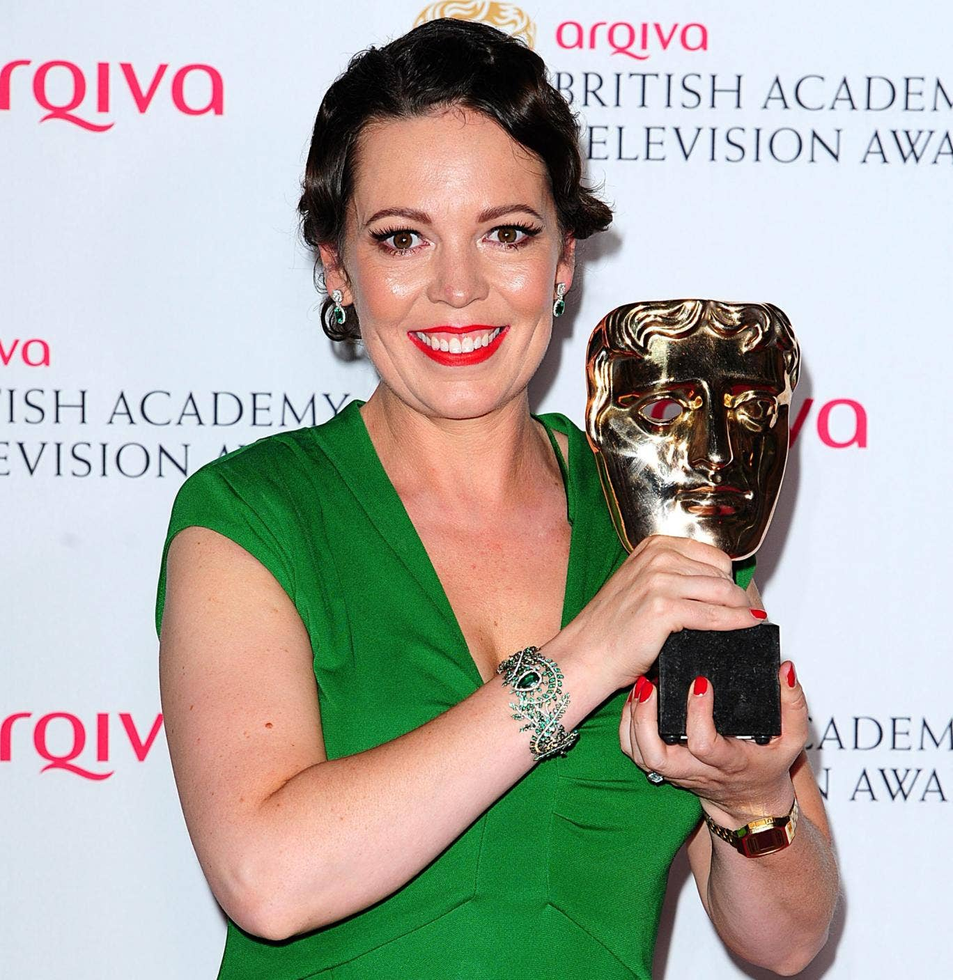 Olivia Colman with her award, the third TV Bafta she has received in two years
