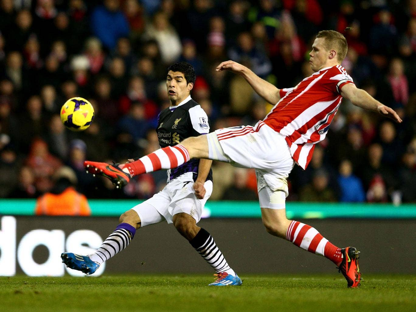 Ryan Shawcross in action against Liverpool during Stoke's  thrilling 5-3 defeat in January