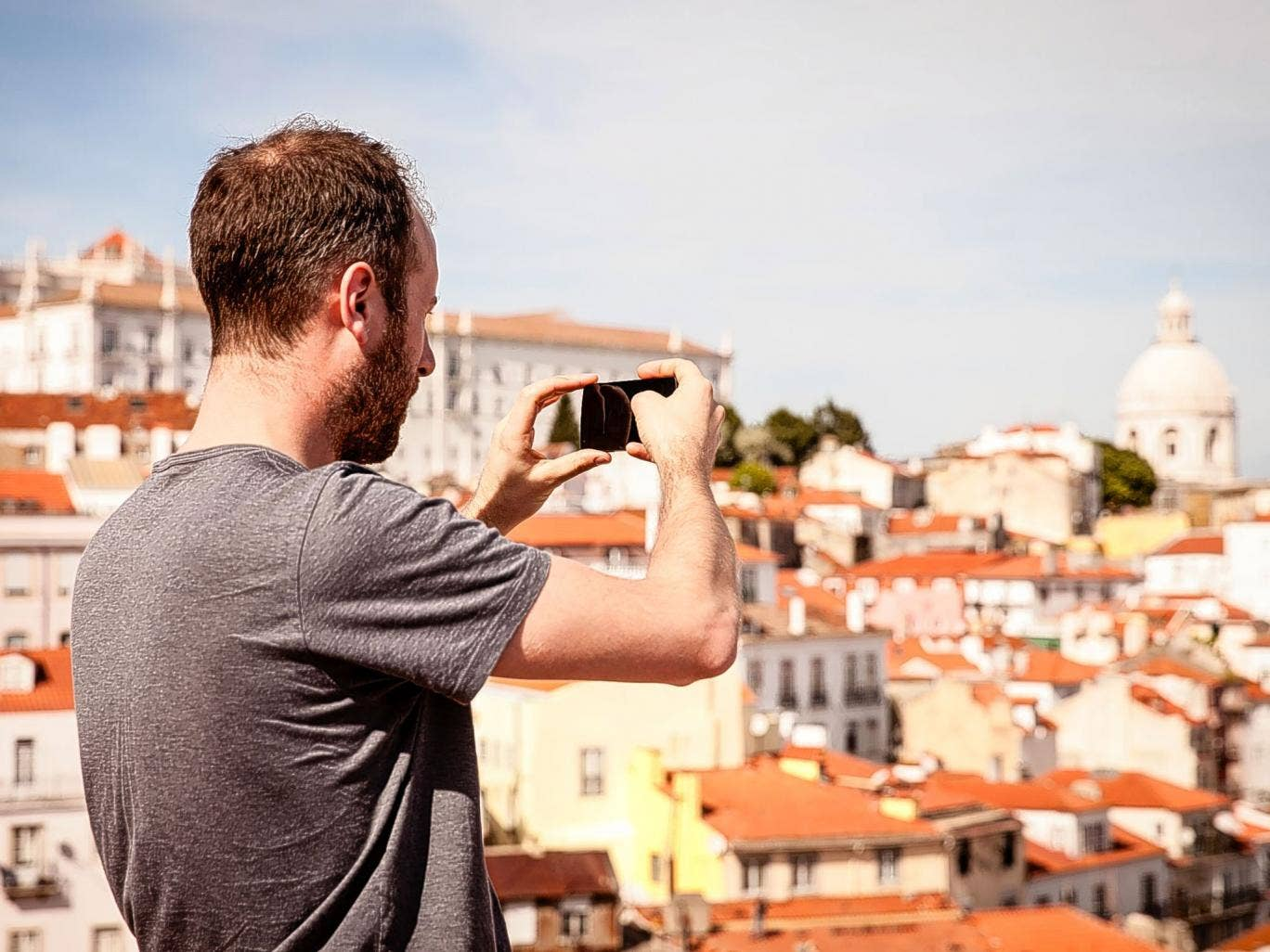 Street view: Simon takes a snap of the Lisbon skyline with a Nexus 5 smartphone