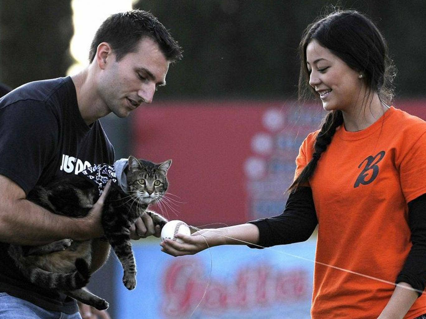 Hero cat Tara, with the help of her owner Roger Triantafilo (L) and team staff member Jade Henry, tosses the first pitch prior to the start of Bakersfield Blaze and Lancaster Jayhawks Single A baseball game in Bakersfield, California May 20, 2014.