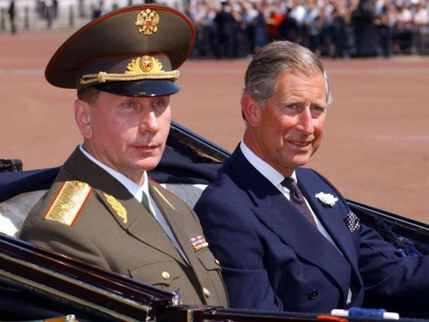 File photo dated 24/06/03 of the Prince of Wales (right) at Buckingham Palace in London with Russian President Vladimir Putin. The Prince of Wales has compared the actions of Russian leader Vladimir Putin to Nazi dictator Adolf Hitler, it has been claimed