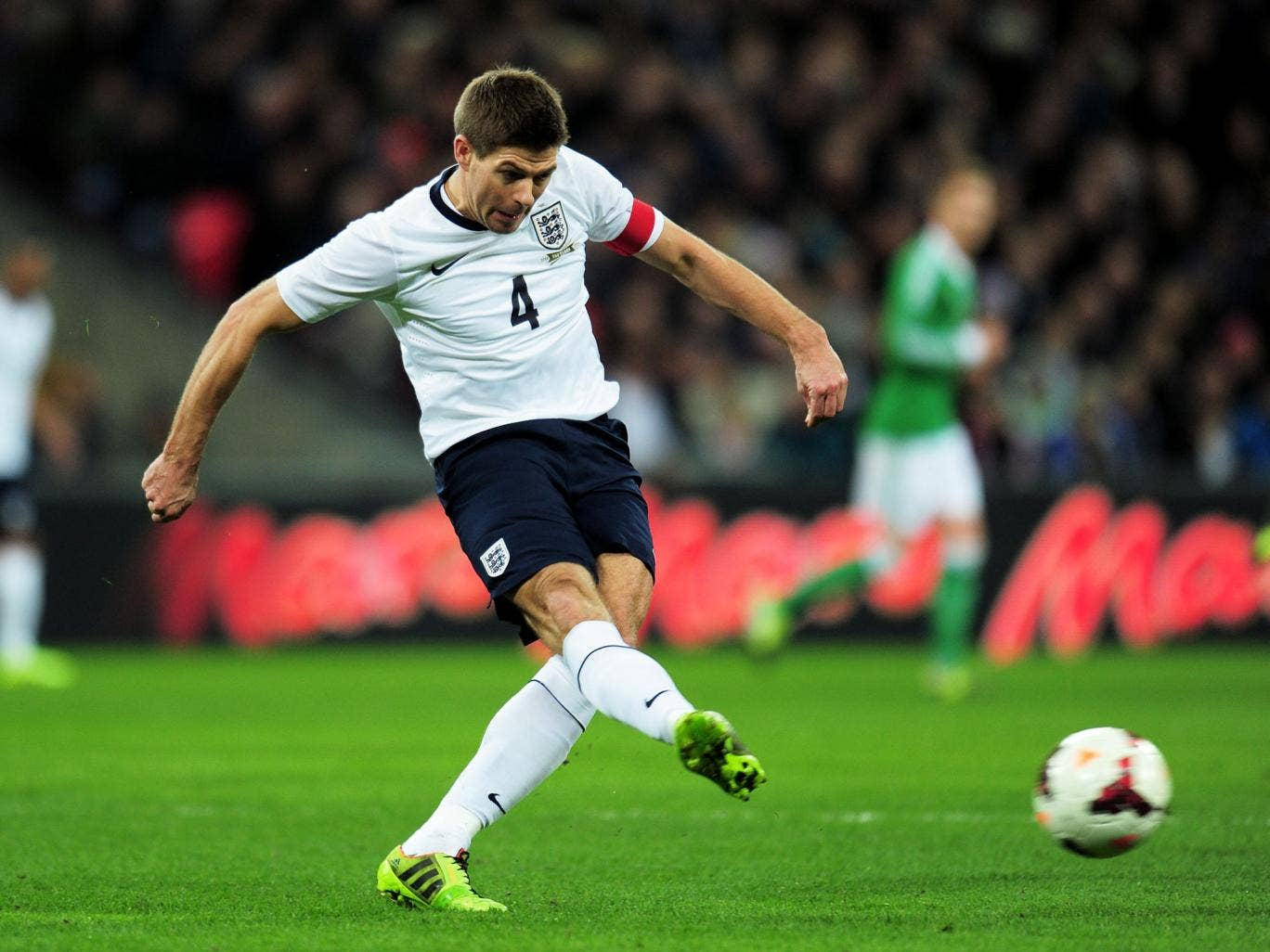 Steven Gerrard on England duty in a friendly against Germany in November 2013