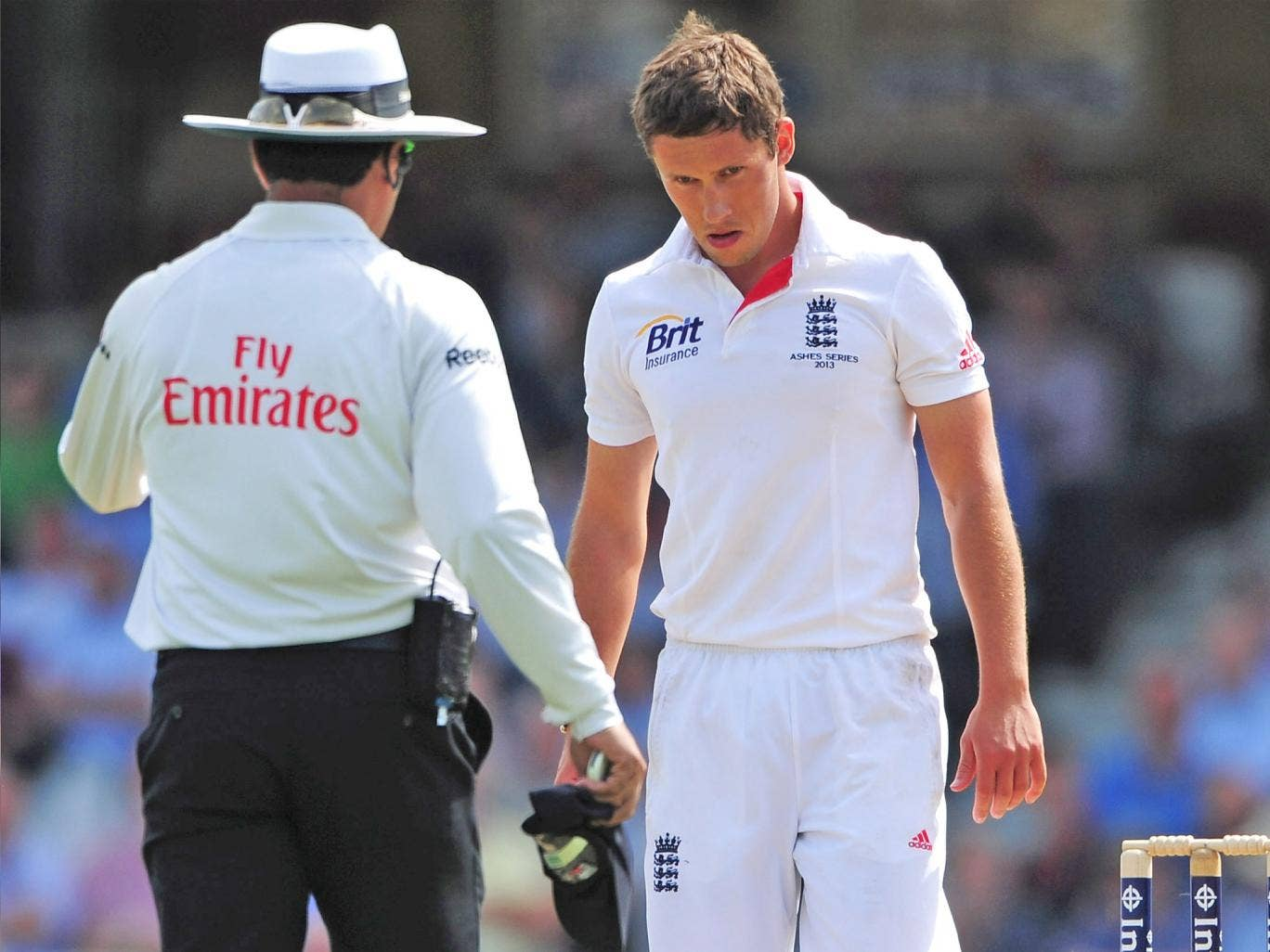 Simon Kerrigan looks distraught after being mauled by Shane Watson at The Kia Oval last summer