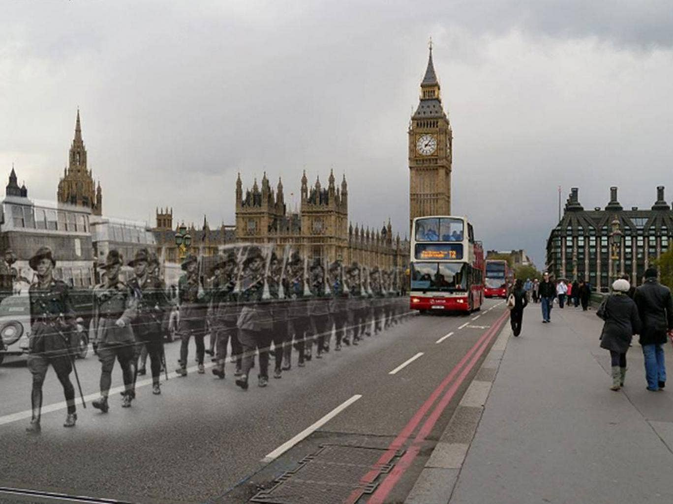 Aussie Troops march over Westminster Bridge ,London, date unknown
