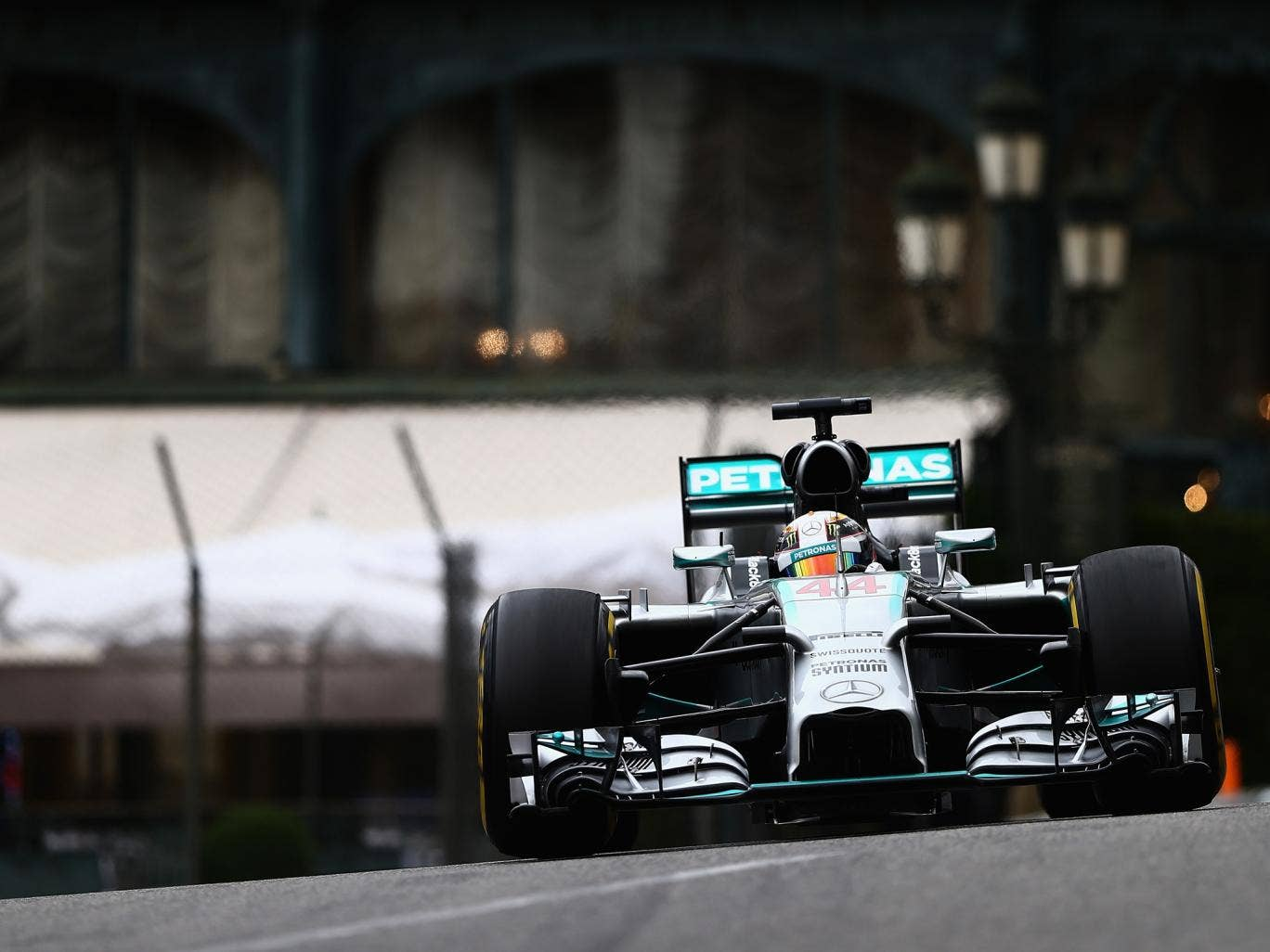 Lewis Hamilton of Great Britain and Mercedes GP drives during practice ahead of the Monaco Formula One Grand Prix at Circuit de Monaco