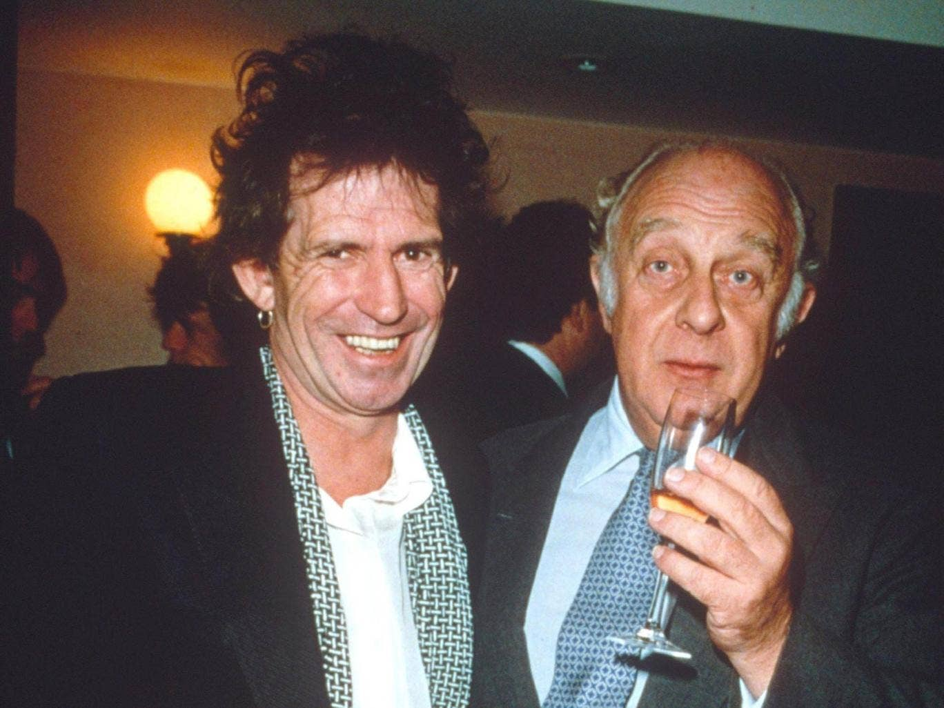 Loewenstein and Keith Richards at a party to celebrate a deal with Virgin in 1991