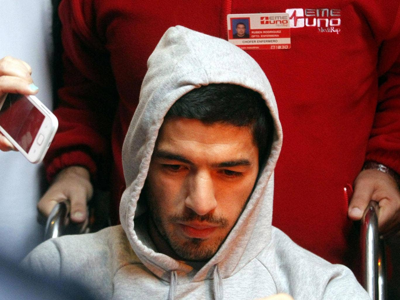 Luis Suarez is moved from Medica Uruguaya hospital after his operation, in Montevideo, Uruguay