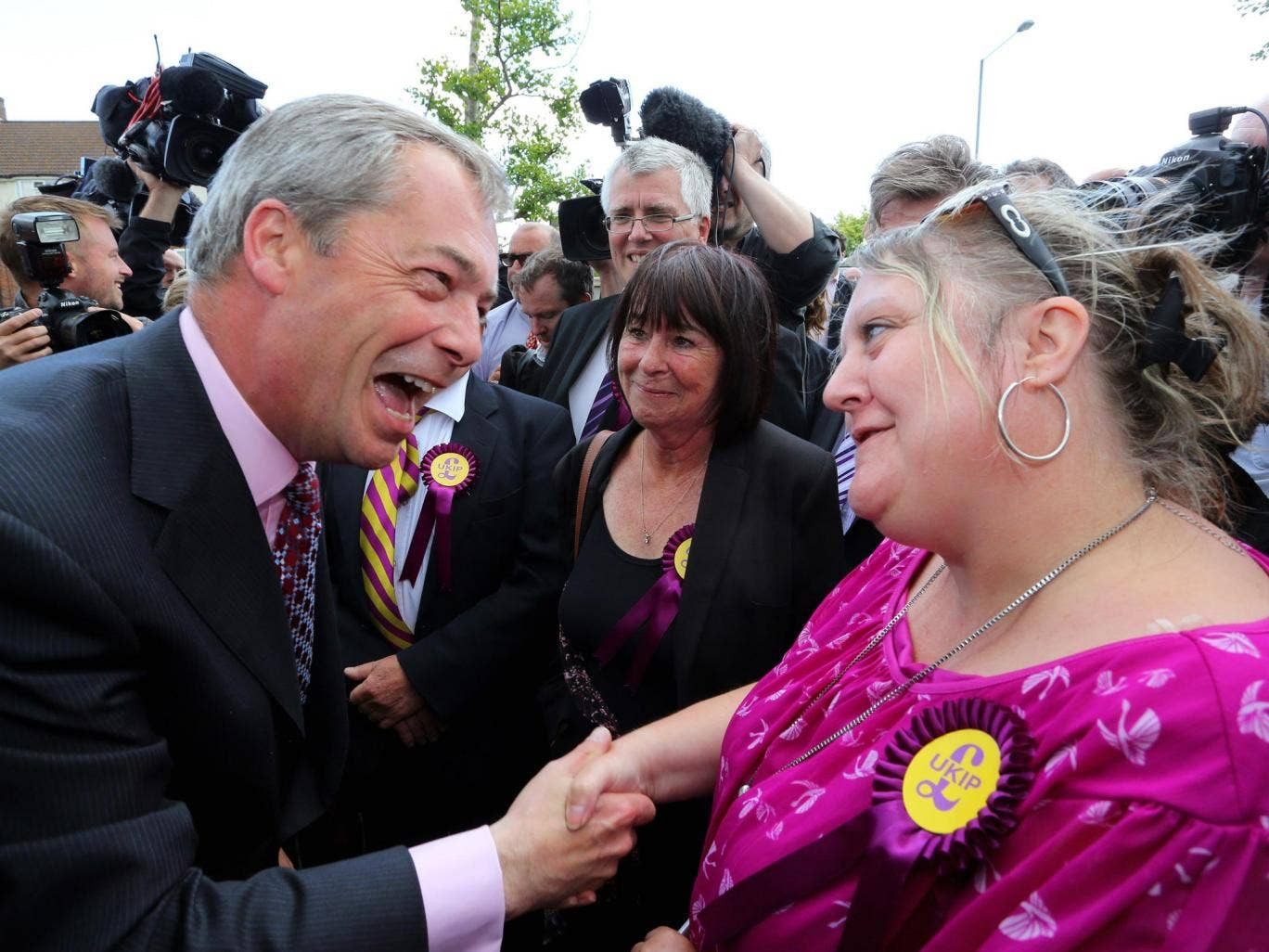 Nigel Farage in Essex yesterday; Ukip gained about 150 seats in the local elections