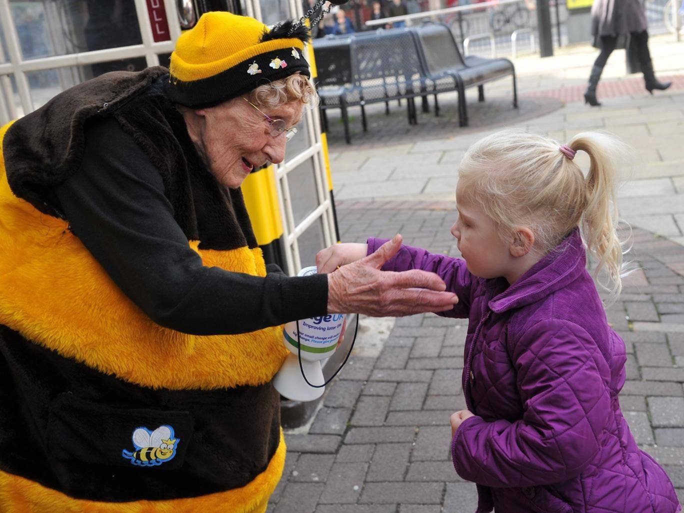 Known as the Busy Bee throughout east Yorkshire, 93-year-old Jean began raising money for Age UK Hull 14 years ago after her husband died. She wears a bee costume (made by her daughter) while rattling her tin, and has so far collected over £100,000.