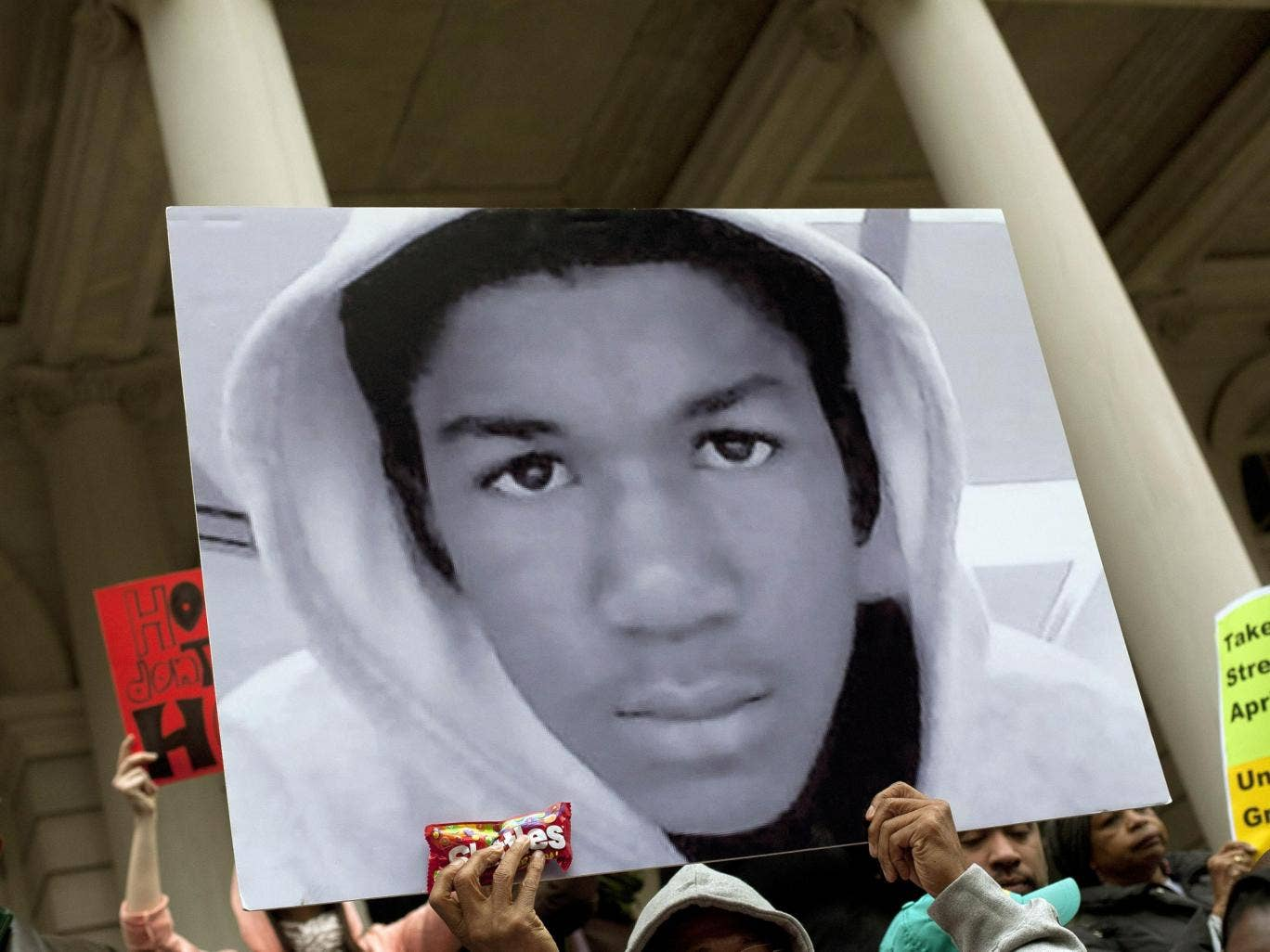 A poster of 17-year-old Trayvon Martin, who was killed in Sanford, Florida in 2012