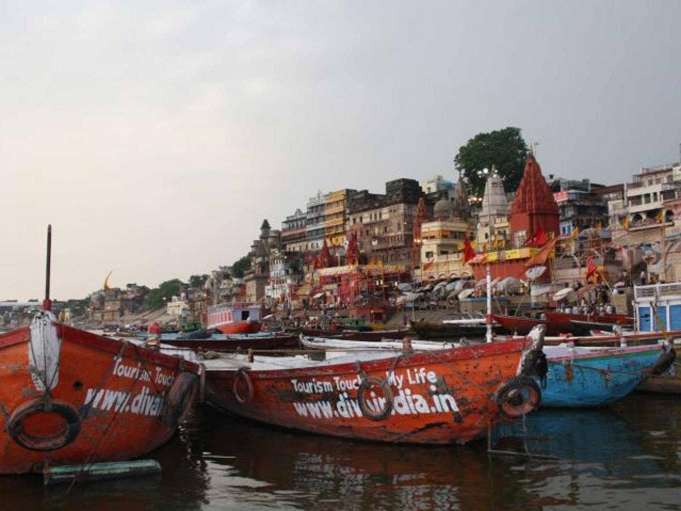 Holy water: Boats on the Ganges
