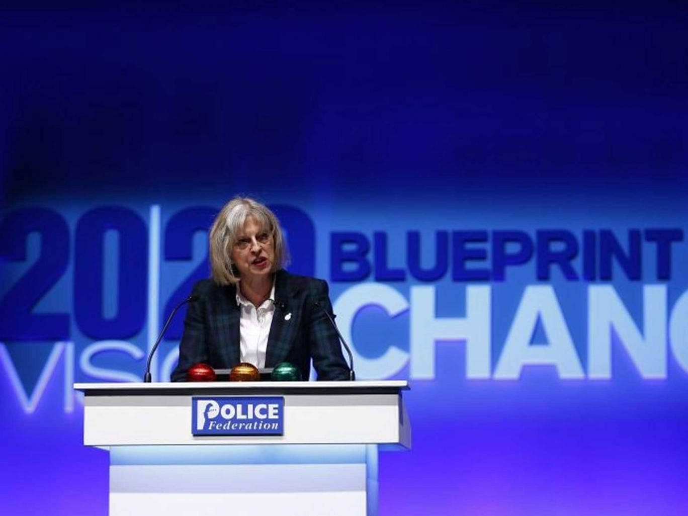 Theresa may speaking at the Police Federation