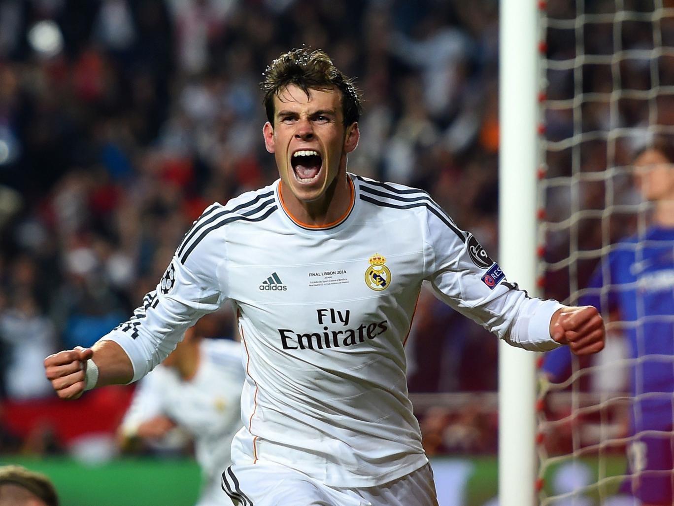 Gareth Bale celebrates after scoring the vital goal for Real Madrid