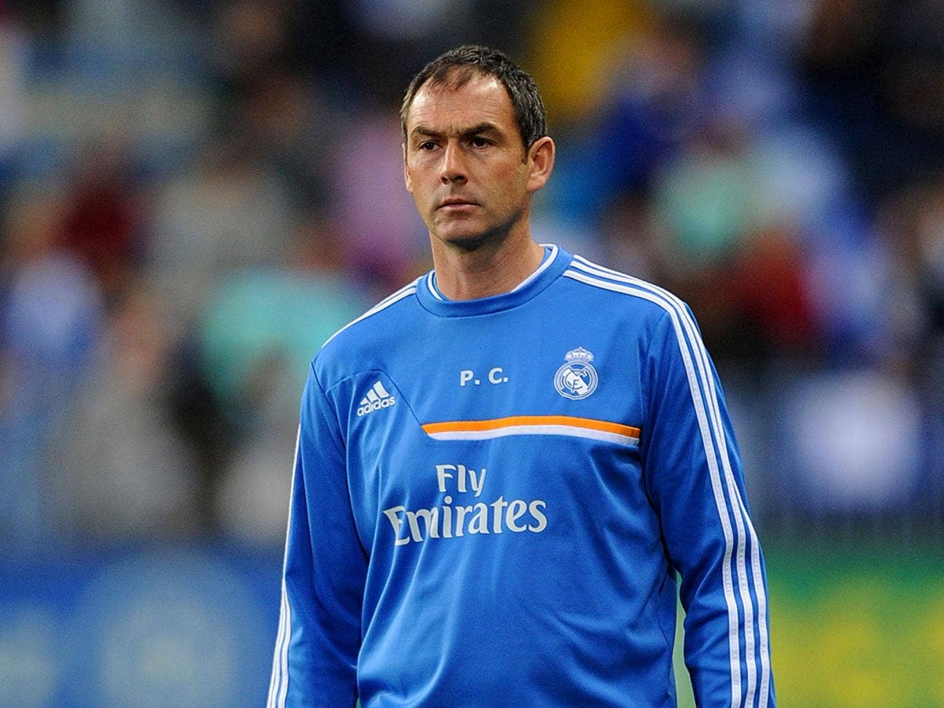 Real Madrid's coach Paul Clement looks on