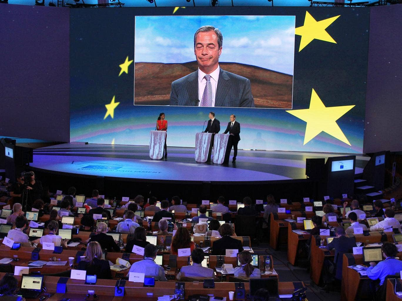 Nigel Farage on a video link at the European Parliament in Brussels
