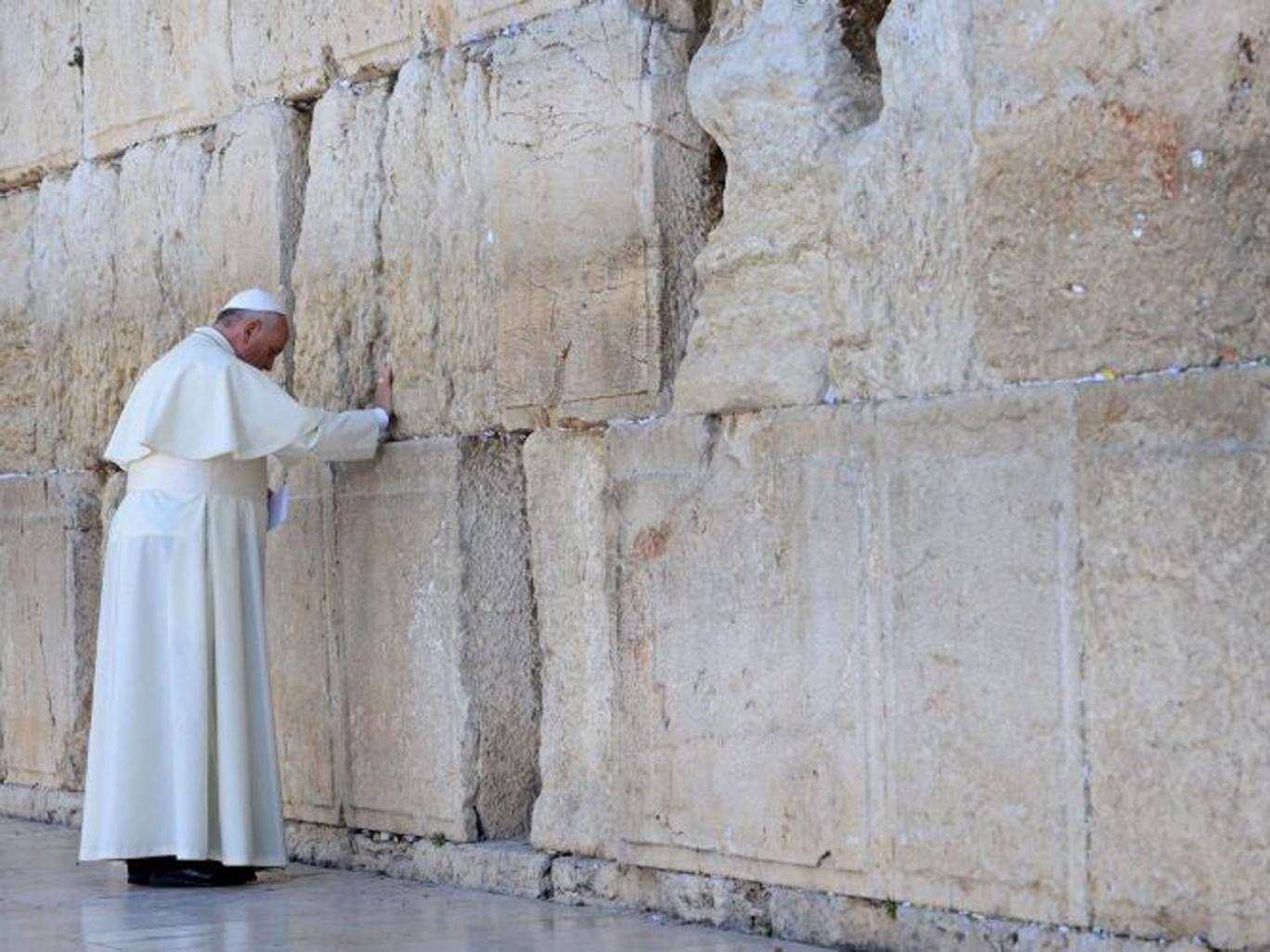 Pope Francis visiting the Western Wall, Judaism's holiest site, in Jerusalem's Old City, Israel, on 26 May, 2014